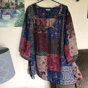 Avenue women's sz 30/32 sheer blouse euc